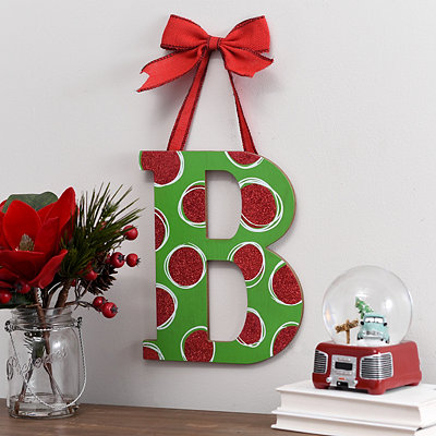 Christmas Polka Dot Monogram B Wooden Plaque