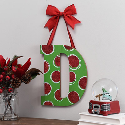 Christmas Polka Dot Monogram D Wooden Plaque