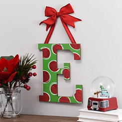 Christmas Polka Dot Monogram E Wooden Plaque