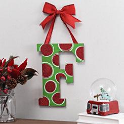Christmas Polka Dot Monogram F Wooden Plaque