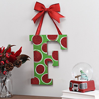Christmas Polka Dot Monogram F Wooden Plaque
