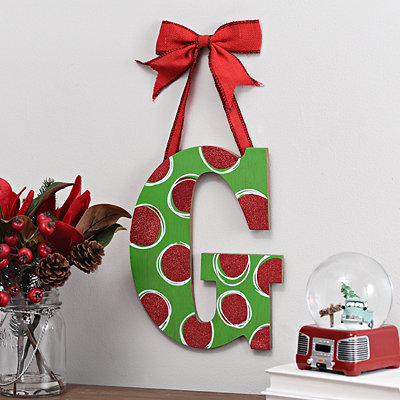 Christmas Polka Dot Monogram G Wooden Plaque