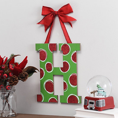 Christmas Polka Dot Monogram H Wooden Plaque
