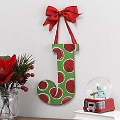 Christmas Polka Dot Monogram J Wooden Plaque