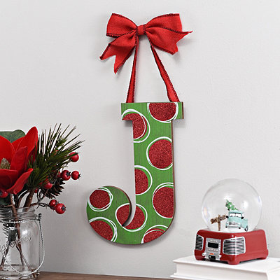 Christmas Polka Dot Monogram J Wooden Plaque