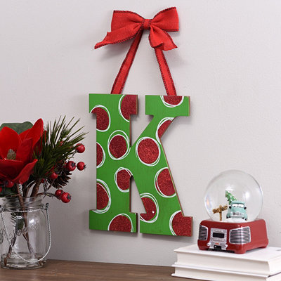 Christmas Polka Dot Monogram K Wooden Plaque