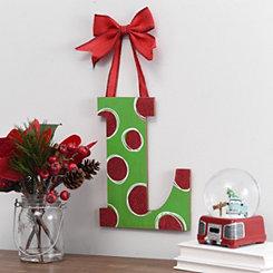 Christmas Polka Dot Monogram L Wooden Plaque