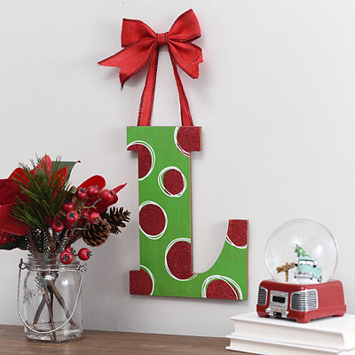 Christmas Polka Dot Monogram L Wooden Plaque