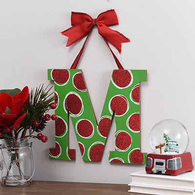Christmas Polka Dot Monogram M Wooden Plaque