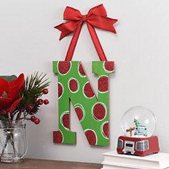 Christmas Polka Dot Monogram N Wooden Plaque