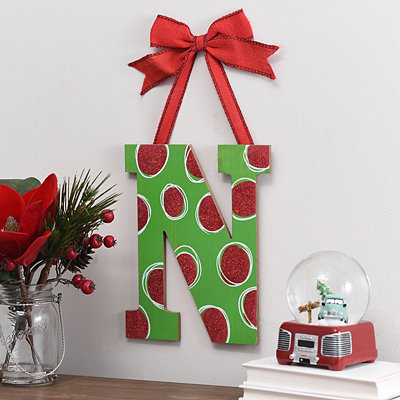 Christmas Polka Dot Monogram N Wooden Plaque