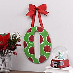 Christmas Polka Dot Monogram O Wooden Plaque