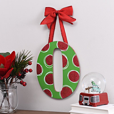 Christmas Polka Dot Monogram O Wooden Plaque