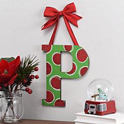Christmas Polka Dot Monogram P Wooden Plaque