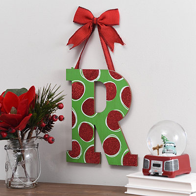 Christmas Polka Dot Monogram R Wooden Plaque