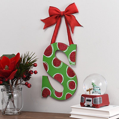 Christmas Polka Dot Monogram S Wooden Plaque