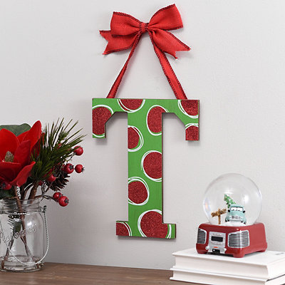 Christmas Polka Dot Monogram T Wooden Plaque