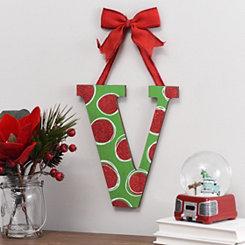 Christmas Polka Dot Monogram V Wooden Plaque