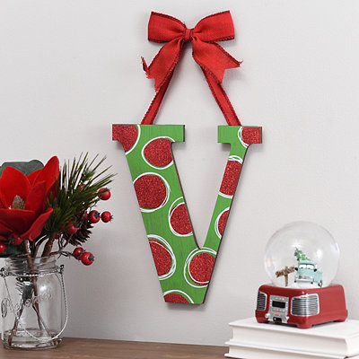 Christmas Polka Dot Monogram V Wooden Plaque