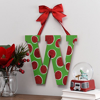Christmas Polka Dot Monogram W Wooden Plaque
