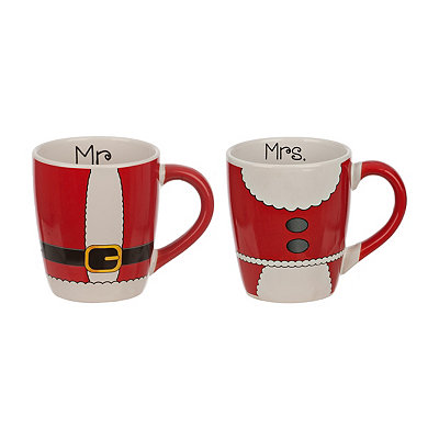 Mr. and Mrs. Claus Suit Mugs, Set of 2