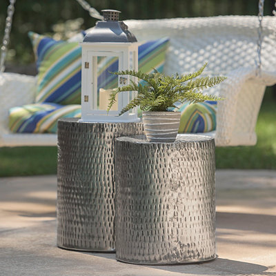 Hammered Silver Garden Stools, Set of 2