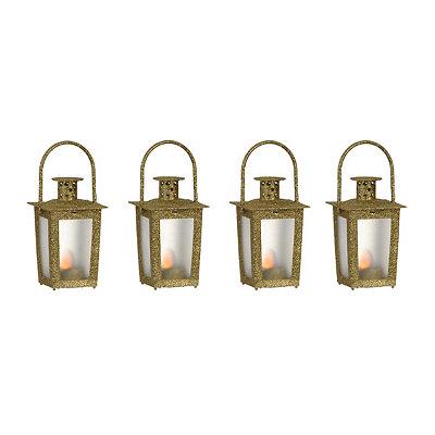 Pre-Lit Gold Mini Lanterns, Set of 4