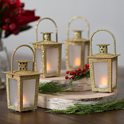 Pre-Lit Gold Mini Lanterns, Set of 4