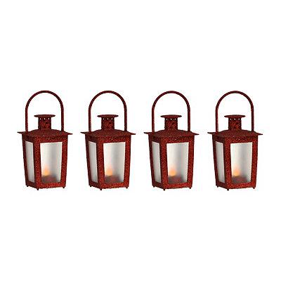 Pre-Lit Red Mini Lanterns, Set of 4