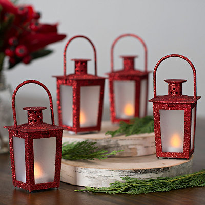Pre-Lit Red Mini Lanterns, Set of 4