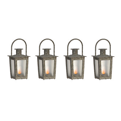 Pre-Lit Silver Mini Lanterns, Set of 4