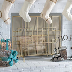 Gold Geometric Boxes Fireplace Screen