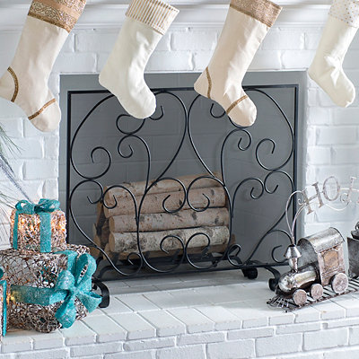 Black Swirls Fireplace Screen
