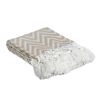 Cream Chevron Ombre Knit Fringe Throw Blanket
