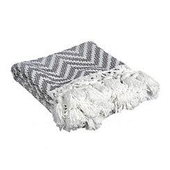 Gray Chevron Ombre Knit Fringe Throw Blanket