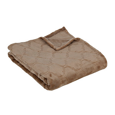 Tan Luxury Plush Quatrefoil Throw Blanket