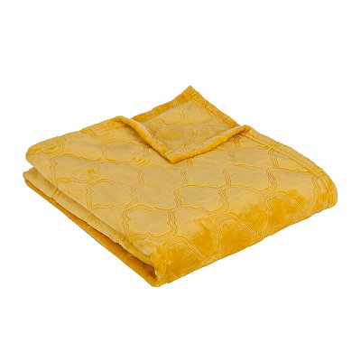 Yellow Luxury Plush Quatrefoil Throw Blanket