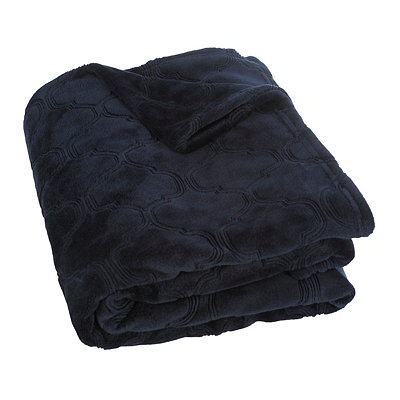 Navy Luxury Plush Quatrefoil Throw Blanket