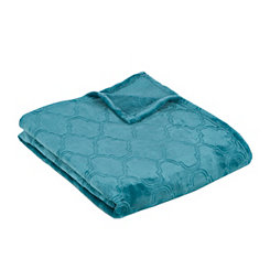 Teal Luxury Plush Quatrefoil Throw Blanket