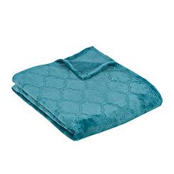 Teal Luxury Plush Quatrefoil Throw Blanket