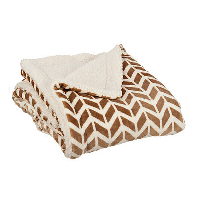 Taupe Herringbone Sherpa Throw Blanket