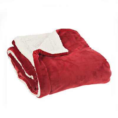 Solid Red Sherpa Blanket