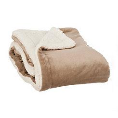 Taupe Plush Sherpa Blanket