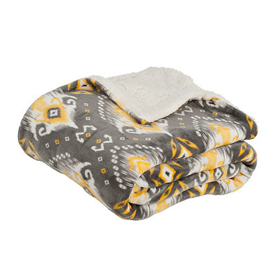 Yellow and Gray Ikat Sherpa Blanket