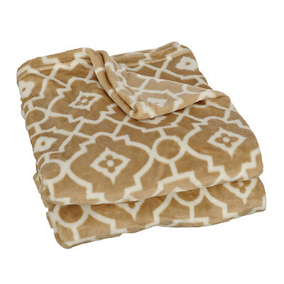 Taupe Trellis Plush Throw Blanket