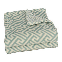 Blue Greek Key Plush Throw Blanket