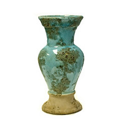 Aqua and Sand Rusted Urn Vase