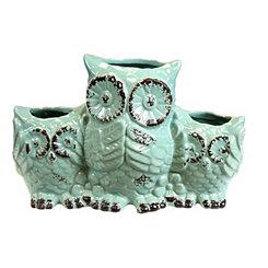 Mint Owl Trio Vase