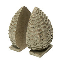 Brown Pine Cone Bookends, Set of 2