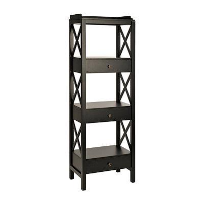 Large Black Crossbar Wooden Shelf